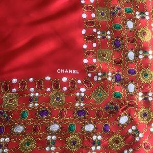 CHANEL Vintage Gripoix Jewel Print Silk Scarf Red